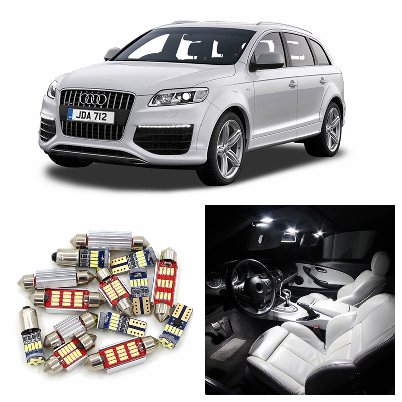 21pcs Super Bright Canbus Car White LED Light Bulbs Interior Package Kit For 2008-2012 Audi Q7 Map Dome Trunk Door Lamp 8pcs car led bulbs interior light kit white for audi a3 s3 8l 1996 2003 canbus led bar dome reading trunk lamps