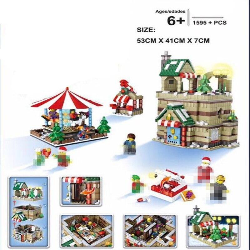 Girl Series Winter Village christmas Modular Creator Santa Reindeer Building Bricks Blocks Toys Compatible цена