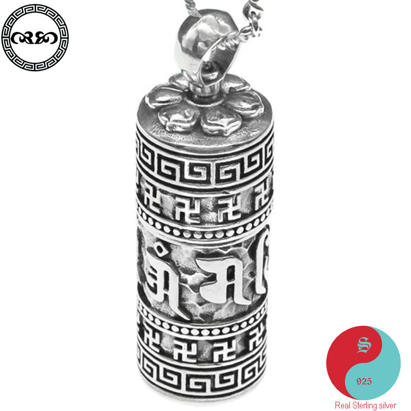 Rétro solide réel 925 argent Sterling collier Tibet bouddha Om pendentif amulette Six mots Mantra collier rotation évider pendentif