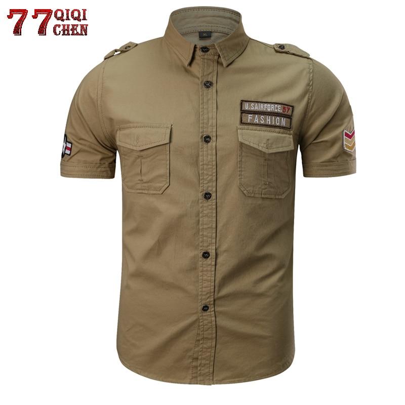 QIQICHEN Breathable Cotton Military Tactical Shirt Men 2018 Casual Summer Short Sleeve Men Shirt Plus Size M-6XL Chemise Homme