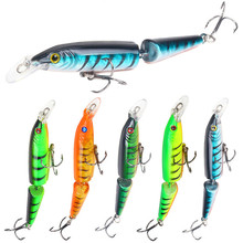 5Pcs/set 105mm 9g Fishing Lure Artificial Minnow Lures Bait Wobblers Crankbait 2 Segments Swimmer Fish Hard Baits Treble Hooks rc air swimmer fish