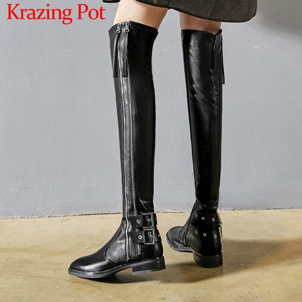 2019 di alta moda di strada zip in pelle di mucca punta quadrata giovane signora tacchi bassi fibbie locale notturno classico tratto della coscia stivali alti l15