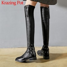 High-Boots Buckles Stretch Low-Heels Classic Fashion Lady Zip L15 Square Toe Young Nightclub