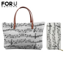 FORUDESIGNS Casual Handbags Women Top-handle Bags Music Note Piano Print Ladies Leather Wallet Purses Tote Female Shoulder