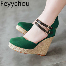 купить Women's Pumps Super High Heels Shoes Round Toe Wedges Buckle Platform 2019 Sexy New Fashion Party Green Gray Big Size 34-43 по цене 1412.04 рублей