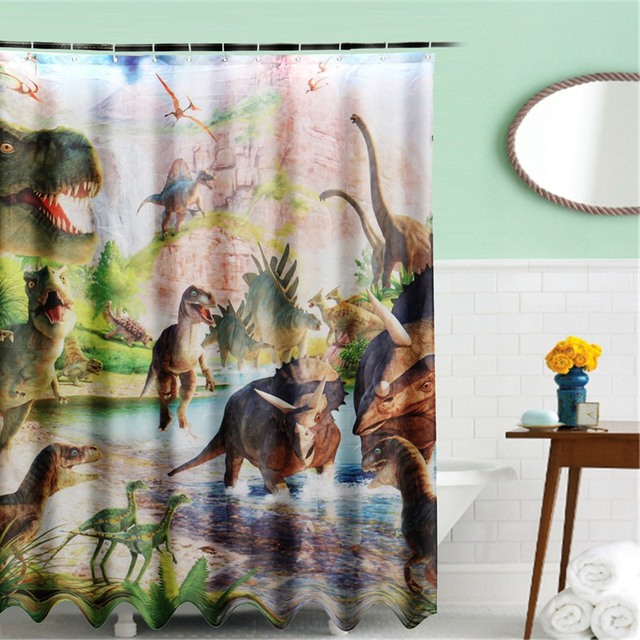 180x150cm Jurassic Period Ancient Dinosaur Shower Curtain Digital Art Bathroom W 12Pcs Hooks Kids