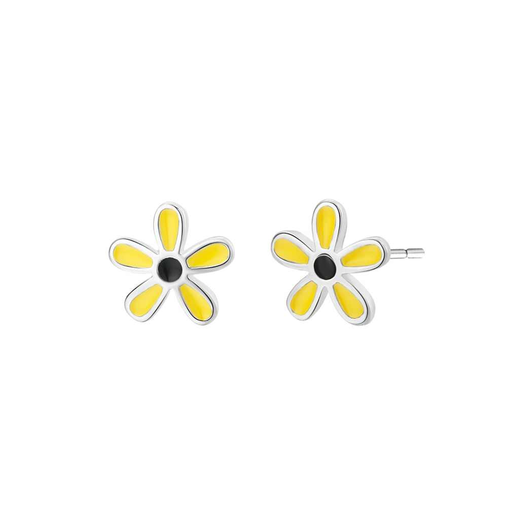 CHENGXUN Lovely Fancy Earrings Small yellow Flower Women Stud Earrings for Girls Women Best Friend Gift Party Fashion Decoration