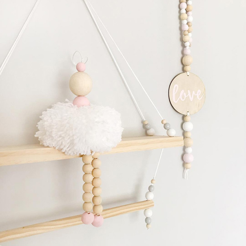 Nordic Style Ballet Dancer Hanging Decoration Wooden Beads Girl Room Decor Nursery Baby Tent Ornament Photography Props