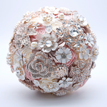 AYiCuthia Silk Wedding Flowers Rhinestone Jewelry Blush Pink Brooch Bouquet Gold Broach Bridal Dress S10
