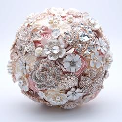 AYiCuthia Silk Wedding Flowers Rhinestone Jewelry Blush Pink Brooch Bouquet Gold Broach Bridal Wedding Dress Wedding Bouquet S10