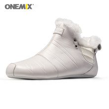ONEMIX Walking Shoes Women Winter Warm Indoor Shoes Men Microfiber Leather Plush Indoor Slippers Cotton Woman Off White Sneakers(China)