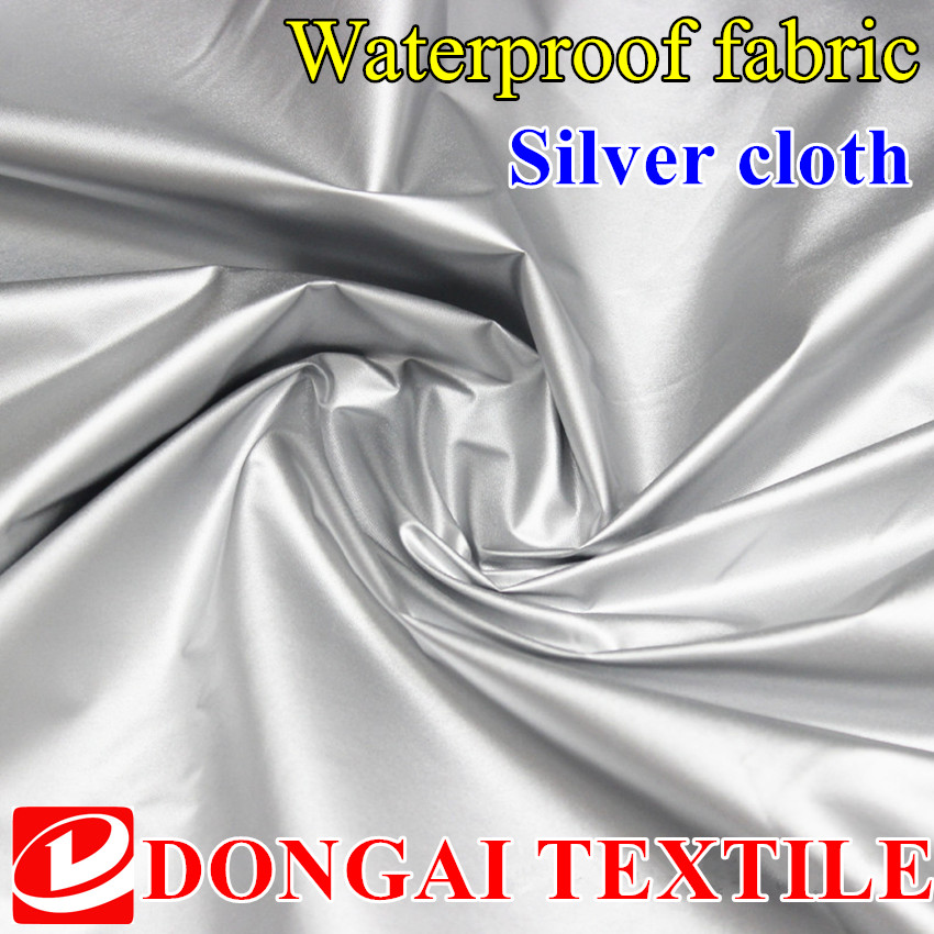 size 1*1.5 meter width 190Tpolyester taffeta lightweight fabric silver coating fabric for car cover and tent waterproof fabric