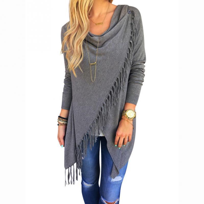 Spring Autumn Fashion Women Oblique Tassels Bow Collar Blouse Shirt Irregular Hem Long Sleeve Knitted Cardigan Casual Tops M-XL