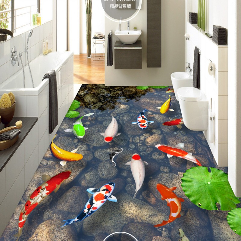 Free Shipping Water stone carp 3D floor painting thickened self-adhesive bedroom living room lobby flooring wallapepr mural