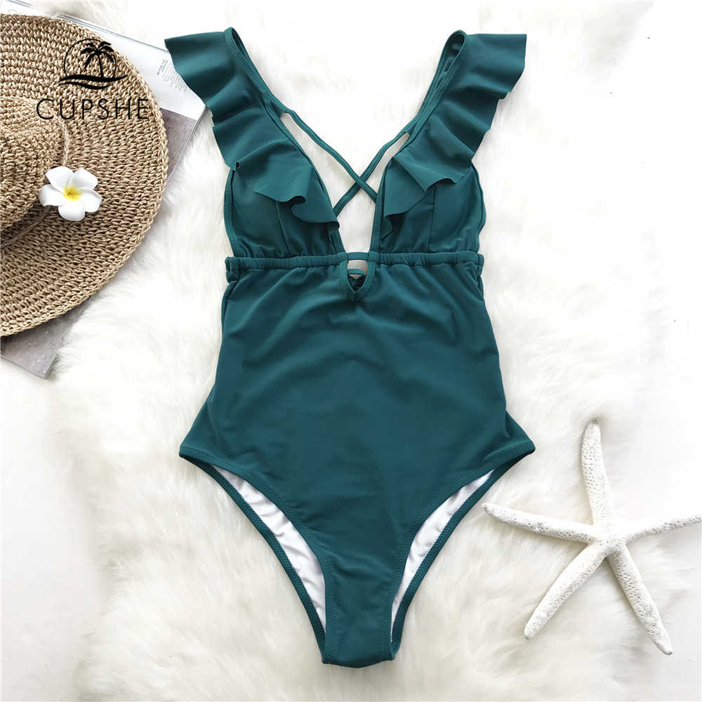 10b5b3d2b5f51 ... CUPSHE Burgundy Heart Attack Falbala One-piece Swimsuit Women Ruffle  V-neck Monokini 2019