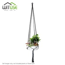 Rural cotton knitted plant hanger hanging planter basket colorful rope 4 legs Plant Hanger 6 Colors(China)