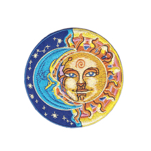10pcs Clothes patch Embroidered moon half blue and sun yellow round