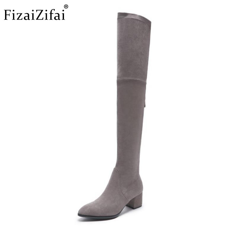 Fizaizifai Women Real Leather High Heel Boots Zipper Over Knee Boots Warm Fur Shoes Winter Long Botas Women Footwsear Size 34-39Fizaizifai Women Real Leather High Heel Boots Zipper Over Knee Boots Warm Fur Shoes Winter Long Botas Women Footwsear Size 34-39