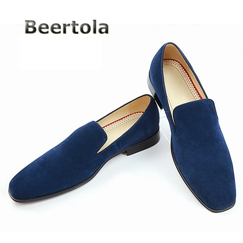 Plat Des Chaussures rouge Beertola Orteil Daim Appartements De Carré Hommes chocolat Suede Bleu Glissement Casual Marque Mocassins Mode 2018 gris Sur 0afqw7