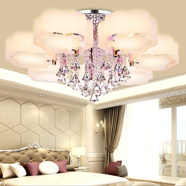 Crystal Led Ceiling Lights Modern Fashionable Design Dining Room Lamp  Pendente De Teto De Cristal White