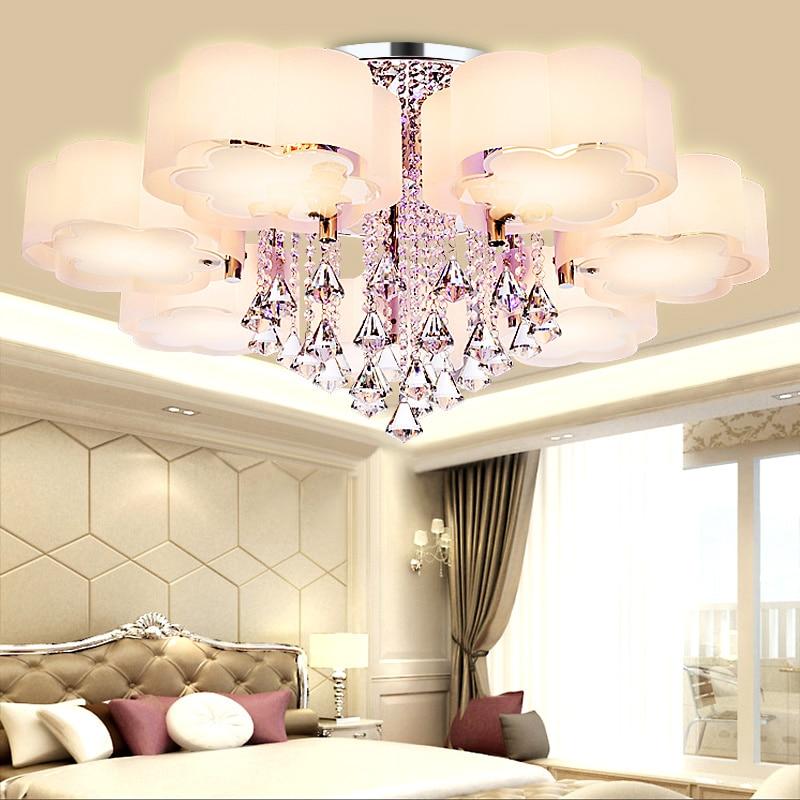 Crystal Led Ceiling Lights modern fashionable design dining room lamp pendente de teto de cristal white shade acrylic lustre