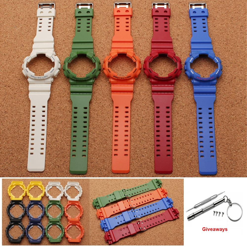 21cm  Rubber Watchband Dial Case Strap For Casio G Shock GA-110 GA-100 120 Waterproof Watchband Sports Watch Bracelet