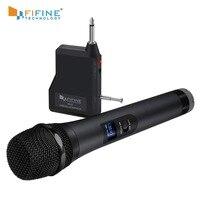FIFINE-micrófono dinámico UHF de 20 canales portátil, sistema de micrófono inalámbrico para Karaoke y fiestas en casa sobre el mezclador, sistema PA, etc.