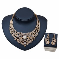 Dubai Charm Wedding Jewelry Gold Color Crystal Rhinestones Necklace Earrings Sets for Women Fashion Bridal Jewelry sets