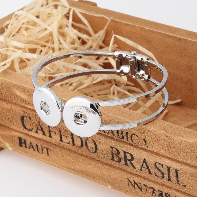 Free Dhl Ems 50pcs Lot New Silver Plated Snap Bangle Bracelet Fit 18