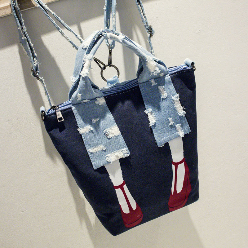 Women s funny backpack leg design denim and canvas for girls travel casual satchel school bag