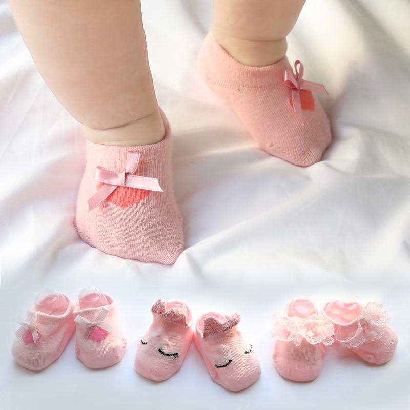 3 Pairs/Lot Lace Flower Newborn Baby Socks Cotton Anti-Slip 0-12 Months Kids Floor Socks Bow Baby Girl Socks Summer Autumn