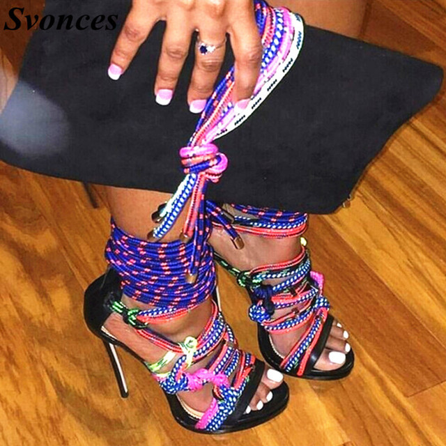 Svonces 2018 New Summer Sexy Shoes Chaussure Femme Women Ankle Strap  Sandals High Heel Gladiator Sandal Rope Shoes Women Zapatos 5159c1b41bcb