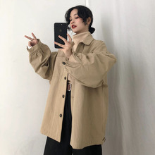 New Korean Spring Bf Large Size Female Jacket Solid Loose Harajuku Coats Lapel Collar Long Sleeve New Women Chic Jacket NO837 ynzzu 2019 spring stand collar long sleeve velvet jacket women casual single breast loose solid bomber jacket coats femme yo781