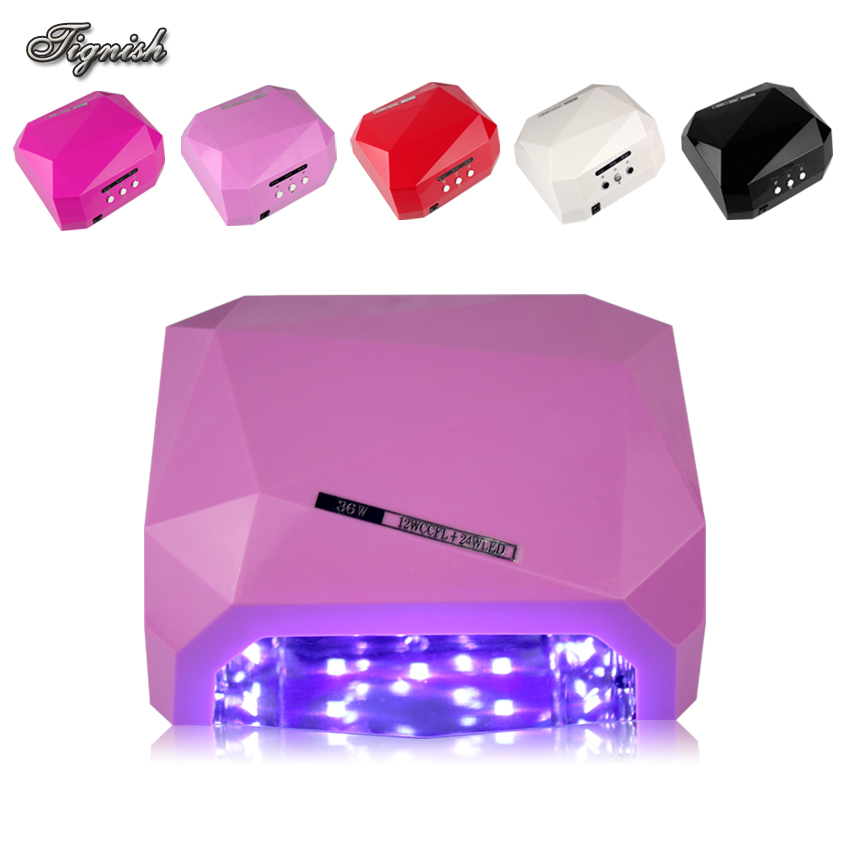 Tignish Pro SUN36W Diamond Shaped Nail Art UV LED Gel Curing Lamp Polish Varnishes Lacquer Dryer Machine Tools US/EU Plug professional 48w led uv lamp for curing nail gel polish nail lamp for nail art tools with eu au us uk plug