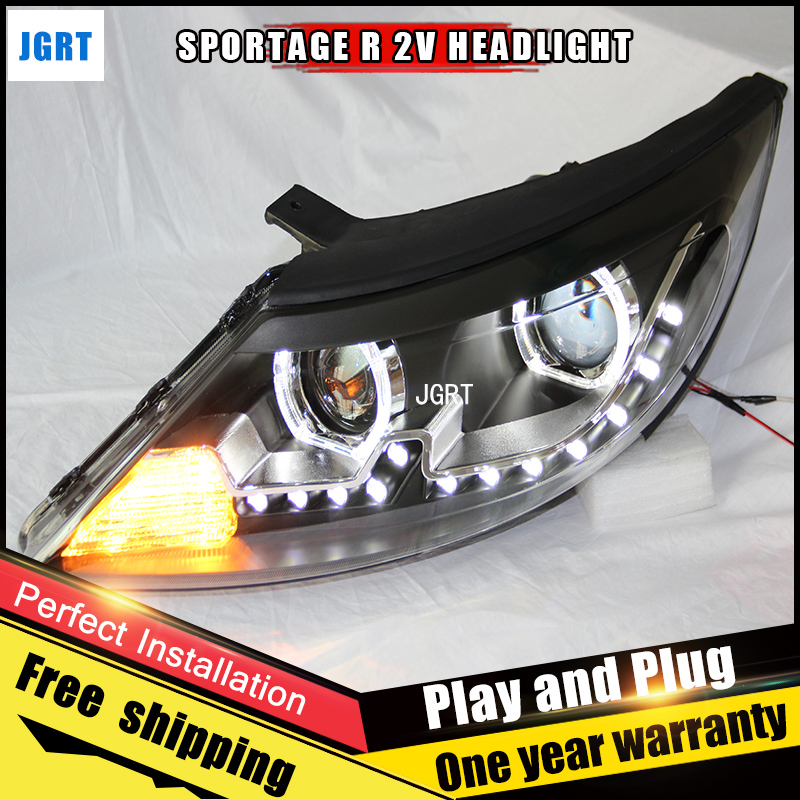 Car Style LED headlights for Kia SportageR 2011-2012 for SportageR head lamp LED DRL Lens Double Beam H7 HID Xenon bi xenon lens auto lighting style led head lamp for porsche cayenne headlights for cayenne led angle eyes drl h7 hid bi xenon lens low beam