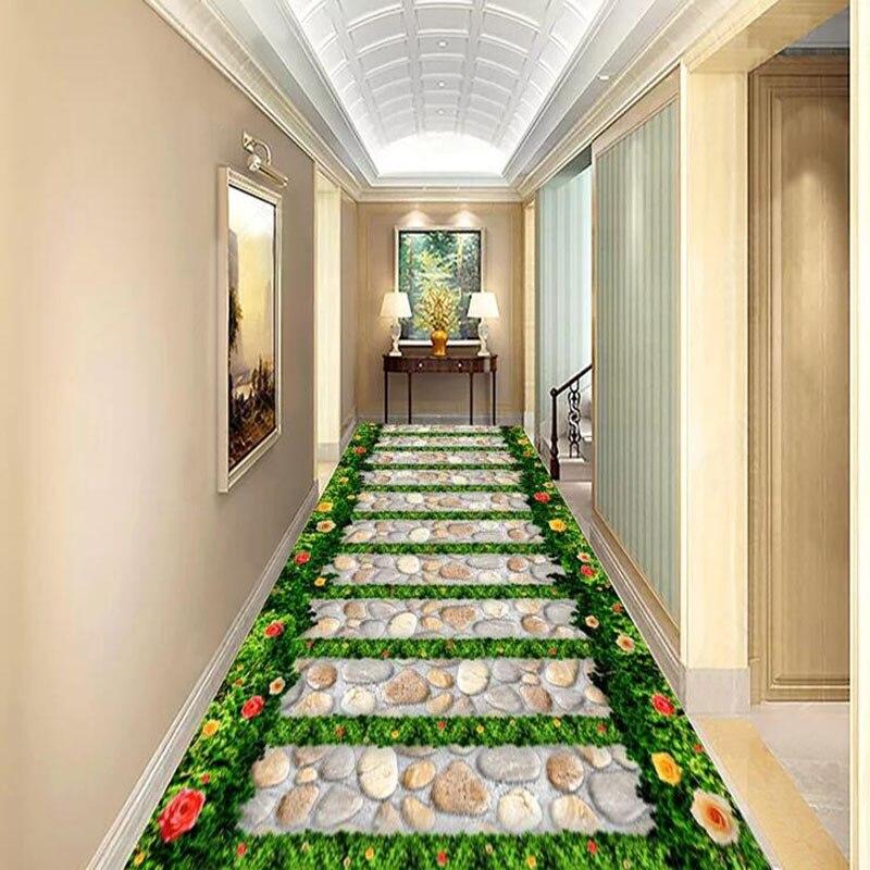 PVC Wallpaper 3D Garden Stone Path 3D Tiles Floor Mural Wallpaper Living Room Balcony Bathroom Waterproof
