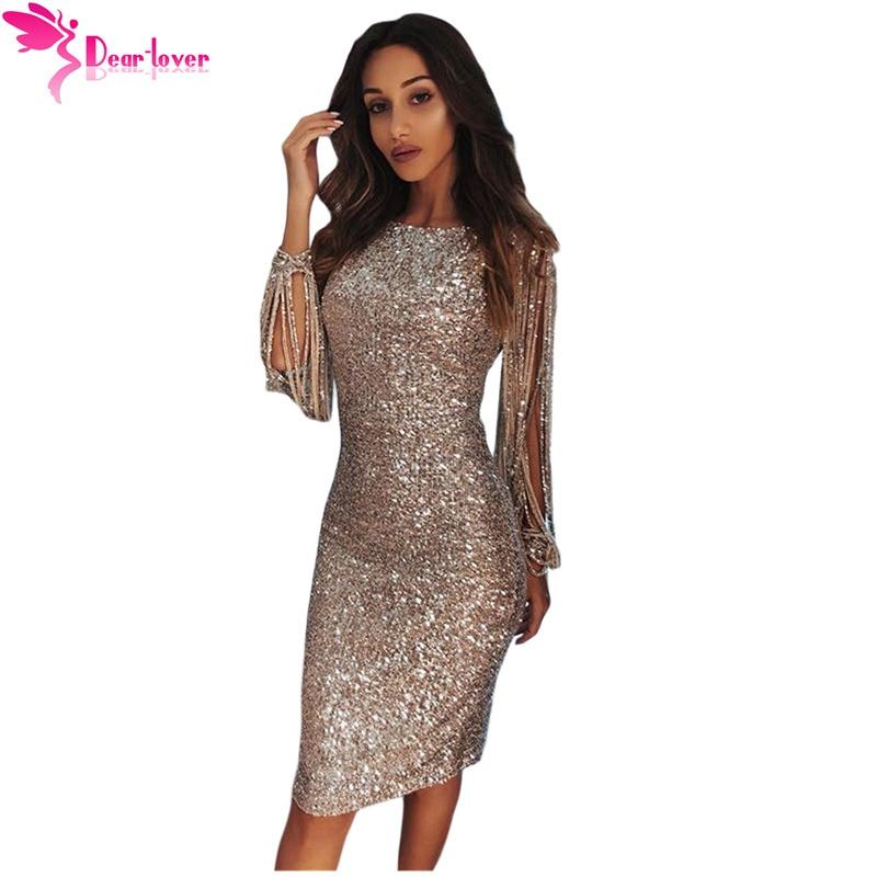 192588477 Dear Lover Sequin Dress Long Sleeve Party Women Sexy Bodycon Silver Hollow  Out Long Sleeve Midi Dress Vestidos de Festa LC610986