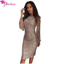 1afc470962 Drogi Lover sukienka z cekinami z długim rękawem Party kobiety Sexy Bodycon  srebrny Hollow Out z długim rękawem Midi sukienka Ve.