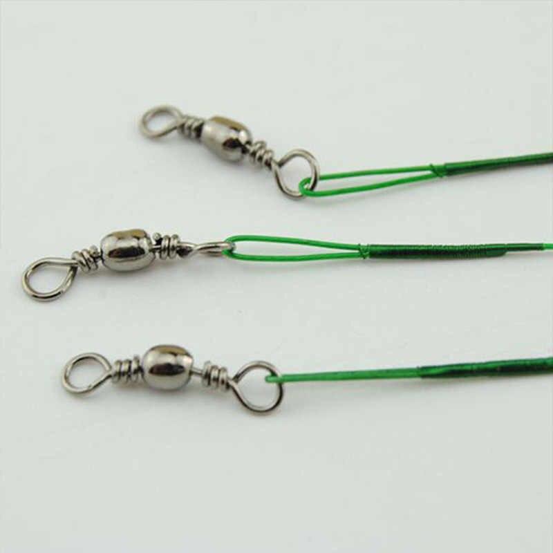 100 Uds hilo de pesca líder de alambre frontal de acero con correa giratoria de alambre de pesca accesorios de pesca 15/20/25/30cm 2 colores