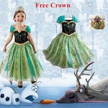 Платье Анны Детские вечерние костюмы принцессы для девочек disfraces princesa vestido ana de festa Carnaval fantasia infantil meninas