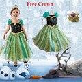 2016 Анна платье Принцессы девушки костюм для детей партии disfraces ана vestido де феста принцеса Карнавал фантазия infantil meninas