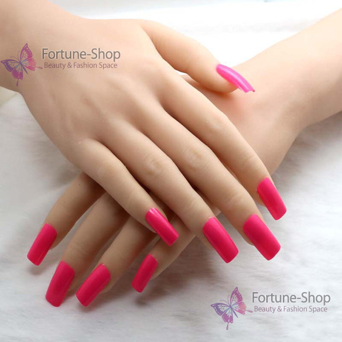 TKGOES 20pcs/set Color Rose Red Fake Nails Acrylic Nail Tips Plastic ...