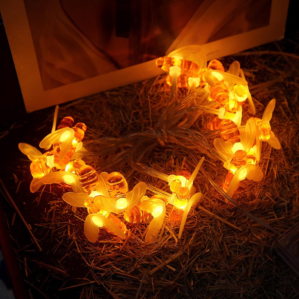 10/20 LEDs String Lights Bee Shape Battery Operated Home Decor Lamp For Outdoor Garden Party Wedding _WK