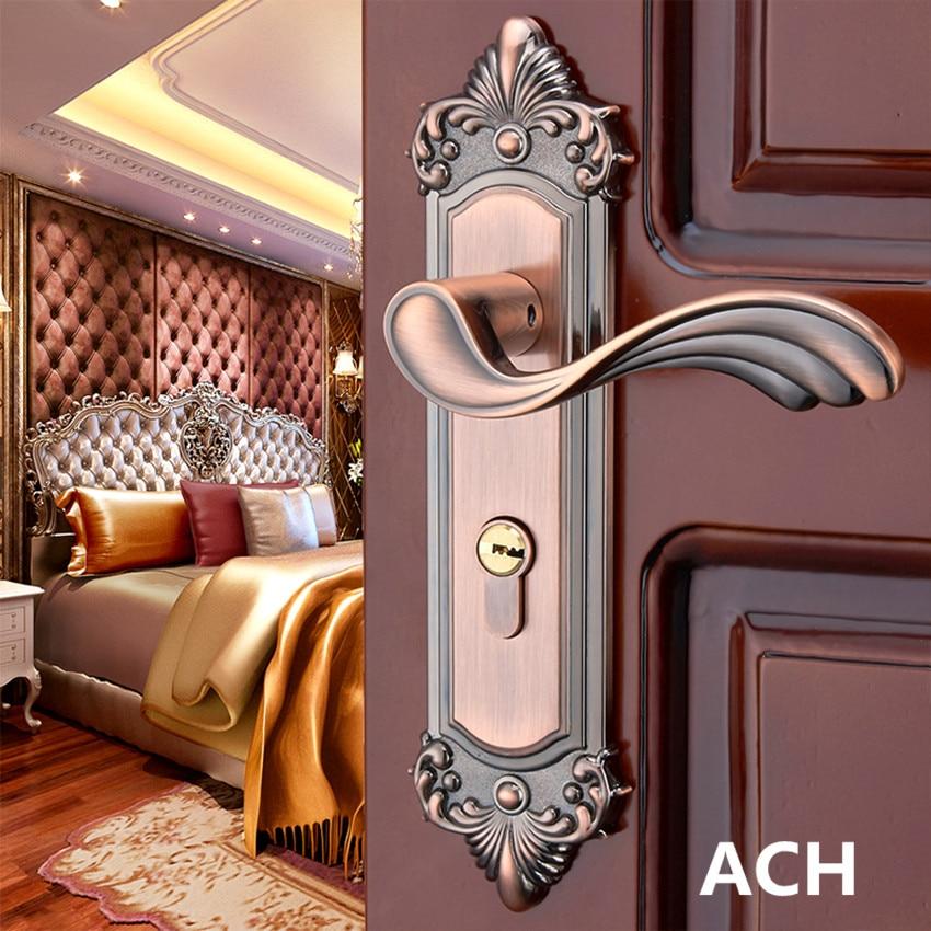 European retro mechanical mute indoor handle lock antique bronze red bronze bedroom, study solid wood door lock gold black lock