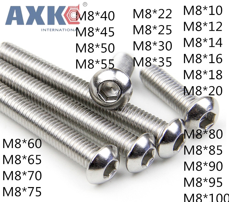 M8 ISO7380 304 stainless steel round head socket head cap screws Pan head socket head cap screws M8*10-100mm 20pcs button head socket cap screw 304 stainless steel round pan head screws m5 10mm