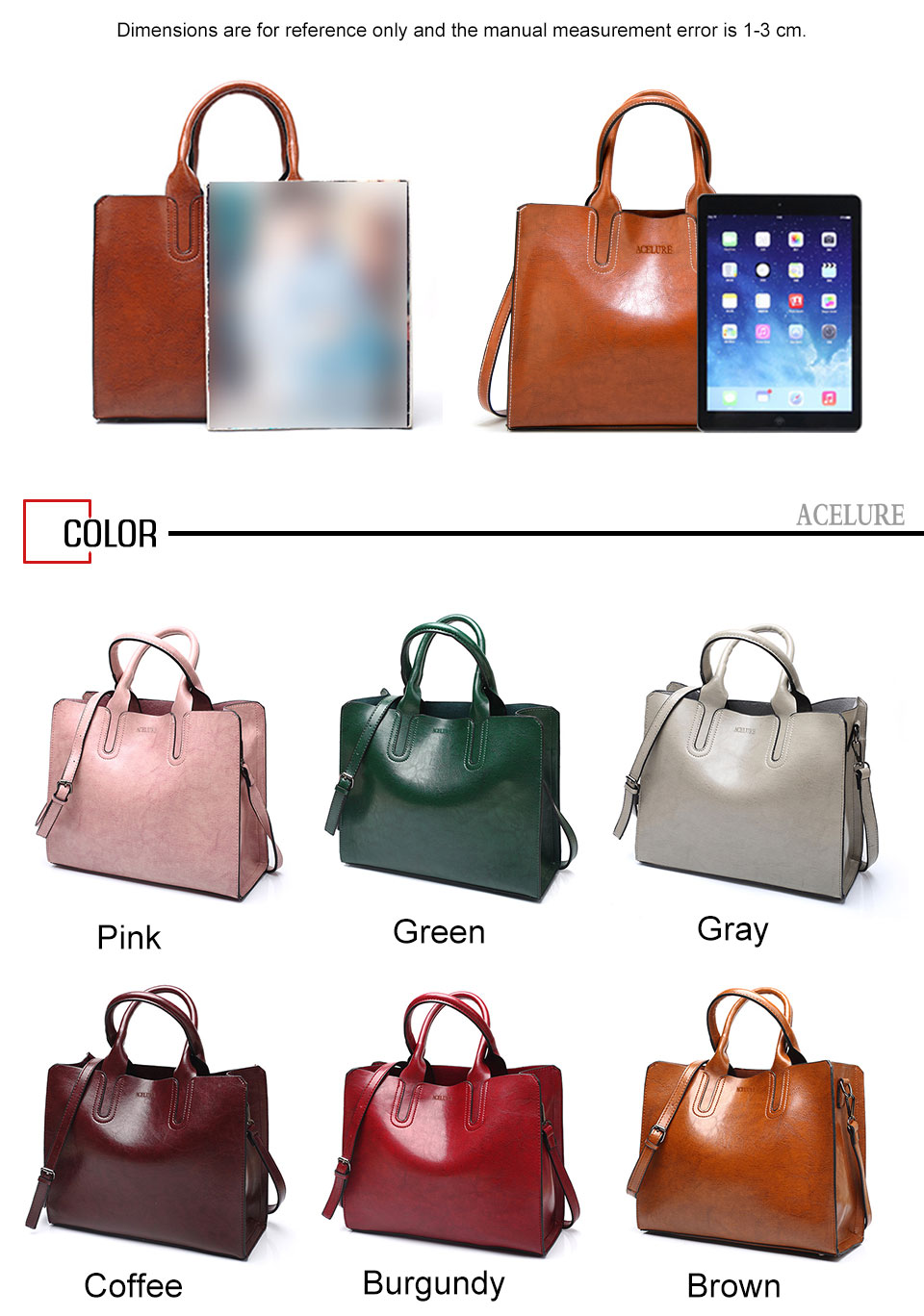ACELURE Leather Handbags Big Women Bag High Quality Casual Female Bags Trunk Tote Spanish Brand Shoulder Bag Ladies Large Bolsos 10