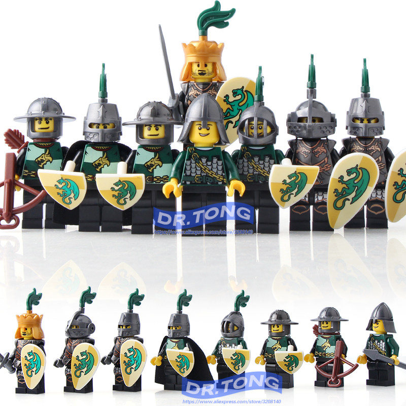 DR.TONG 8pcs/lot Medieval Castle Kingdoms Green Dargon Knights Rider Solider Shield Sword Building Blocks Toys Kids Gift AX9806