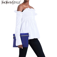 TWOTWINSTYLE 2017 Summer Ruffle Slash Neck Tops Women Shirts Blouse White Off Shoulder Long Sleeves Tunic