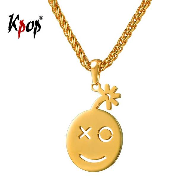 Kpop smiley face pendant simple jewelry stainless steel gold color kpop smiley face pendant simple jewelry stainless steel gold color emoji round pendant necklace for men aloadofball Image collections