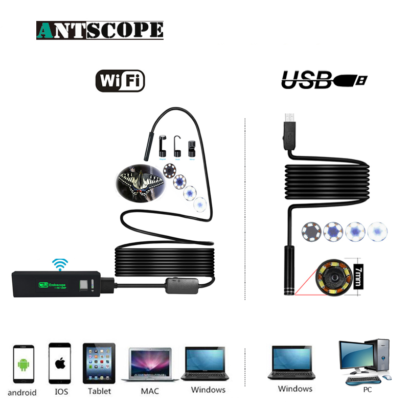 Antscope Wifi 8mm Endoscope 2/3.5/5/10M Hardwire Waterproof 1200P Android iOS 7mm Softwire USB Camera Inspection boroscopio 19